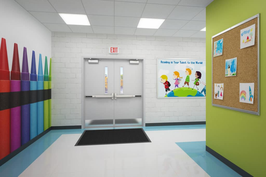 school entrance doors to hallways