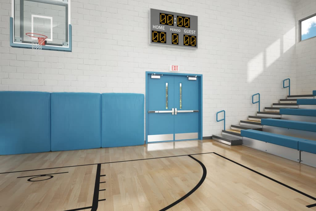 school gymnasium doors